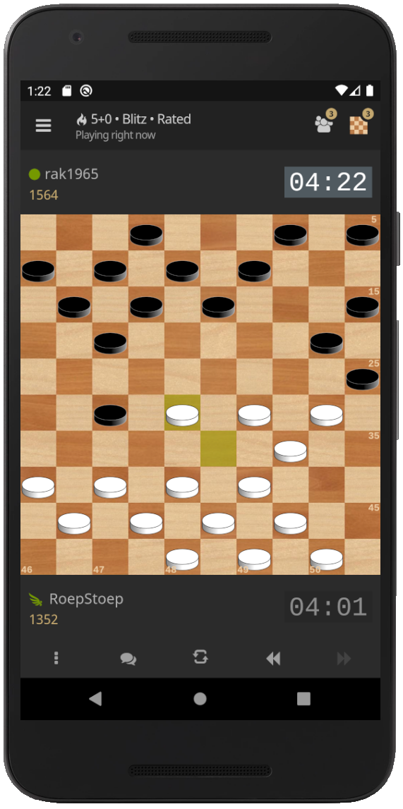 A game in progress on the Lidraughts mobile app